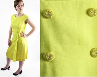 60s Kay Windsor Dress, Mod, Mad Men, Chartreuse, Neon, Linen