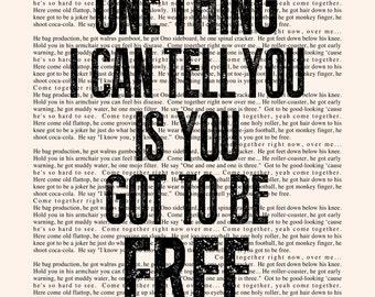 Come Together Lyrics - Book Page -- The Beatles Lyrics Poster print, studio wall art, distressed typography print