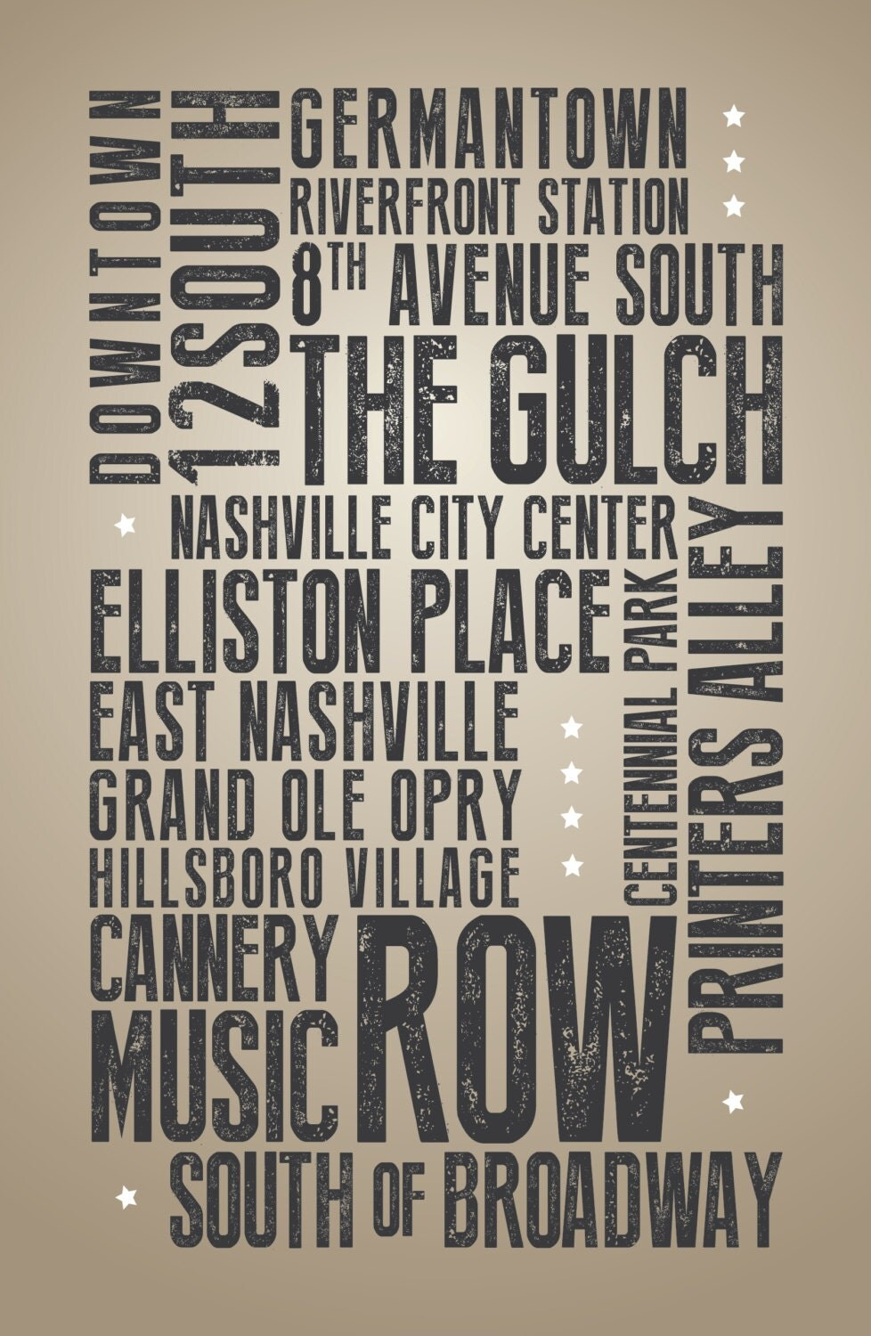 Nashville (IL) United States  city photos : Nashville Points of Interest Typography poster by LeMonkeyHouse