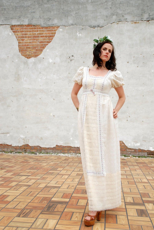 Empire waist wedding dress ivory white lace maxi long boho for Ivory empire waist wedding dress