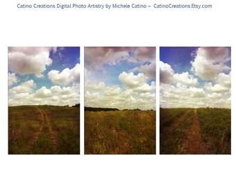 Cloudy Blue Sky Road to Sky Texas Landscape Photo Triptych wall art Landscape art rustic heaven nature art dreamy clouds decor