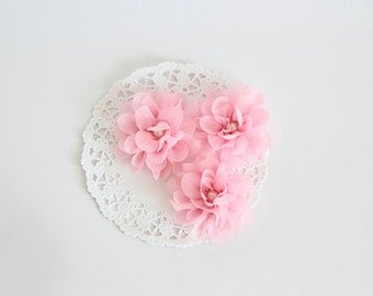 "3 pcs - Pink Crepe flowers - Frayed Flower - Fabric Flower - 2 3/8"" Flowers"
