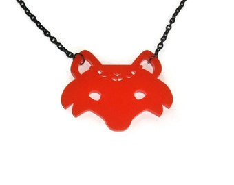 Cute Fox Face Necklace, Orange Perspex Kawaii Woodland Animal, Quirky