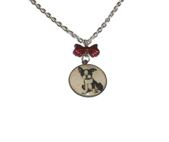 french bulldog necklacecute dog jewelry red bow round charm
