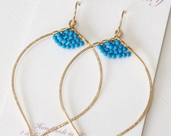 Earrings Malie - lotus hoop earrings - Turquoise earrings - December birthstone .(E131)