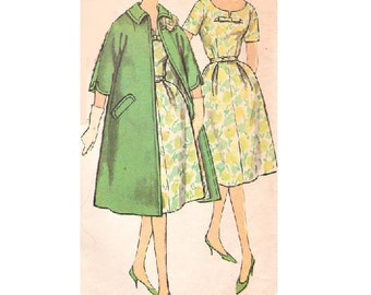 Simplicity 3315 Sewing Pattern 60s Garden Tea Party Dress Opera Sleeve Coat Fit Flare Skirt Bust 37