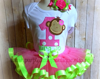 Mod Monkey Girl Birthday Tutu Set