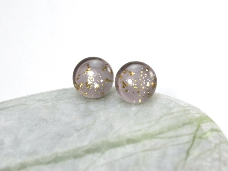 taupe gold glitter earrings plastic post hypoallergenic