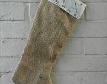 Christmas Stocking in Burlap  and Cream Cotton  Lace Trim - ready to ship