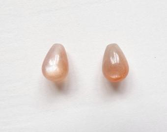 AA Grade Goldsand Sunstone Half Top Drilled Mini Bulb Drop 7x10 mm One Pair G4102