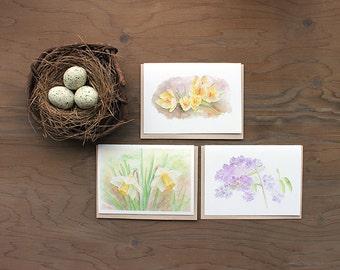 Flower Notecards . Set of 3 Floral Note Cards . Watercolor Cards . Flower Painting . Crocus Lilacs Daffodil Botanical Art . Garden Artwork