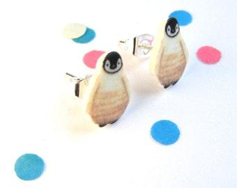 Baby penguin earrings cute winter jewellry