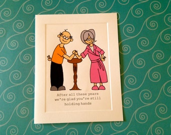 After all these years we're glad you're still holding hands - Anniversary CARD