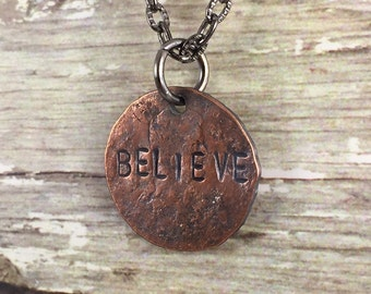 BELIEVE Penny Charm Necklaces, Good Luck Penny, Bouquet Charm, Coin Charm Necklace, Inspirational Necklace, Gift Idea for Bride, Graduate