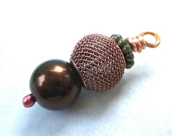 Mixed Metal, Bronze Pearl Pendant, Chunky Dangle, Jewelry Making, Accessory Supply