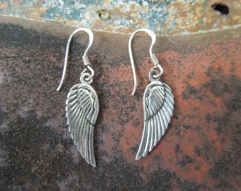 Sterling Silver Earrings  Angel Wings Bird Wings Feathers