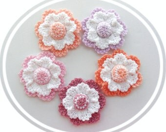 Crochet Applique - Cherry Blossom - Spring Flowers - Set of 5 Pastel Flowers