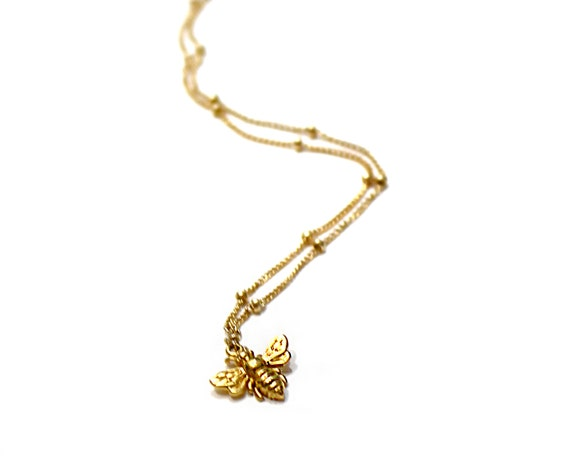 Tiny Bee Necklace. Bumble Bee Charm Necklace. Gold Fill or Sterling Silver.