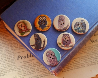 "8pcs Painted Owl Wood Buttons 30mm 1 1/8"" (WB2280)"