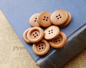 """12 Wooden Light Coffee Natural Buttons 23mm  7/8"""" (WB2331)"""