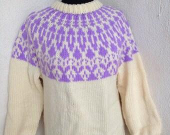 Vintage lilac ivory knit sweater crew neck handmade sz M skiwear