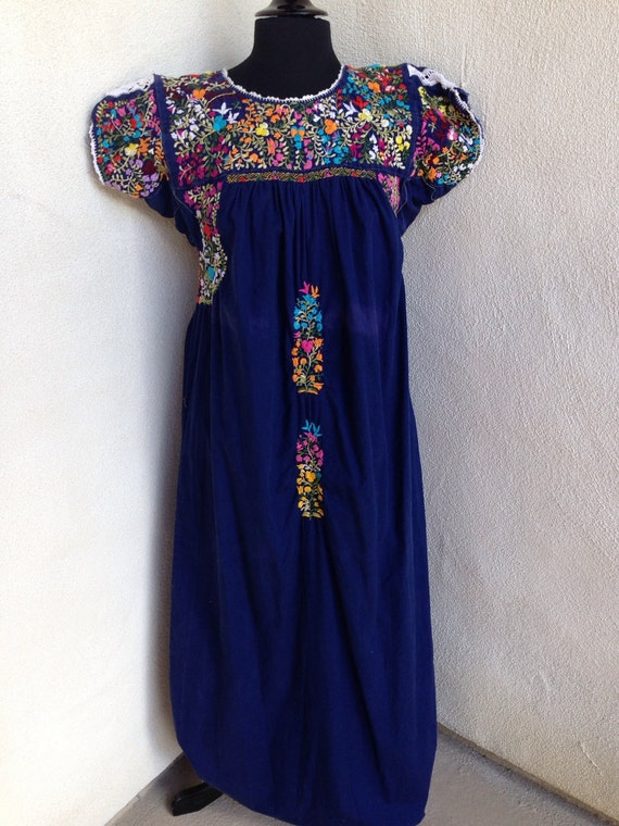 Vintage mexican oaxacan embroidered maxi dress little people