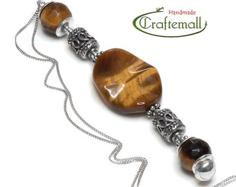 Clearance: Natural stone necklace - sterling silver pendant necklace with Tiger Eye