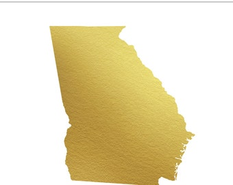 Georgia State Gold Foil State Clip Art Personal & Commercial Use - Southern, Atlanta, Wedding, Peach State, South, GA - INSTANT DOWNLOAD