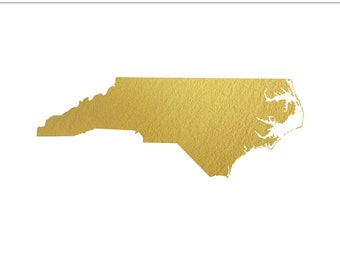 North Carolina Gold Foil Clip Art State - Commercial Use, Wedding, United States, Asheville, Columbia, East Coast, NC - INSTANT DOWNLOAD