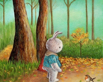 A Forest Walk, Art Print, Baby's Bedroom Illustration, Nursery Decor, Baby Gift, Baby Nursery Art Print, Bunny Art, Cute Art, Watercolor
