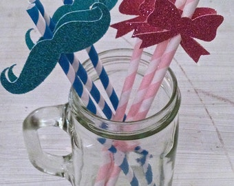 Bow & Mustache Party Straws -- Gender Reveal Party / Baby Shower Decorations /  Drink Stirrers / Decorative Straws
