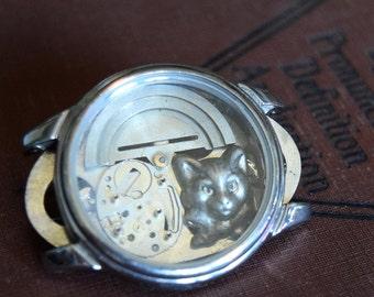 Alice in Wonderland Jewelry, Cheshire Cat Jewelry, Steampunk Jewelry, Steampunk Brooch Pin, Alice in Wonderland Brooch, Disney Jewelry,