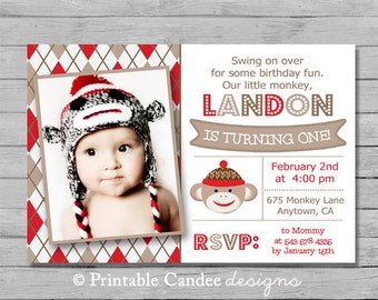 Sock Monkey Birthday Invitation - Sock Monkey Invitation - Sock Monkey Birthday - Sock Monkey Party - DIY Custom Printable