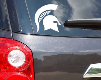 Classic Michigan State Spartan Helmet Head Vinyl Car Decal Sticker FREE SHIPPING