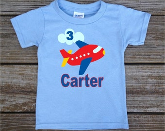 Personalized Little Boy's Birthday Shirt in Airplanes Planes Transportation T-shirt Bodysuit in Blue Grey White Pink