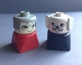 1970's Lego Duplo figures, Dog, Grand mom collectibles, 2 figures, original, rare, made in U.S.A., egst, Greece