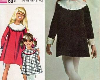 "1960s Girls' Dress with Detachable Collar & Cuffs Pattern - Size 6, Breast 24""- Simplicity 7274, uncut, Designer Fashion"