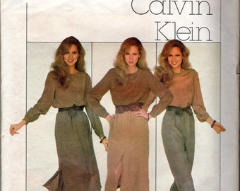 Easy 1970s Women's Calvin Klein Long Skirt & Pants Pattern - Size 8- Very Easy Vogue 2064 with Vogue Label
