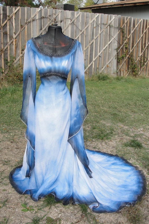 Reserved dark angel blue white and black wedding gown corpse for Blue and black wedding dresses