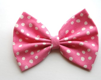 SALE - Danielle Hair Bow - Pink and White Polkadot Hair Bow with Clip