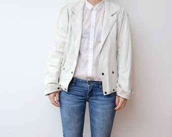 Vintage white leather 80s women jacket