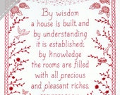 By Wisdom a House is Built - Proverbs Embroidery KIT in Redwork - Wedding Housewarming Gift