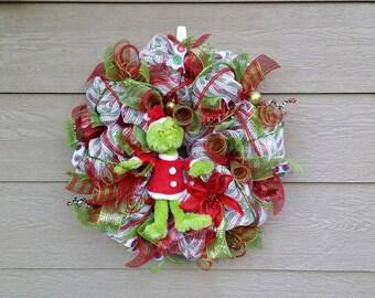 Grinch Wreath - Dr Seuss Wreath - Christmas Wreath