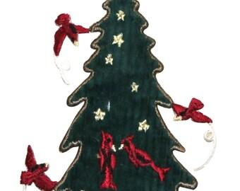 ID #8048 Felt Holiday Tree & Cardinal Birds Christmas Iron On Applique Patch