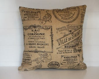 Burlap Pillow Cover, Paris French Script Burlap Pillows, Vintage Inspired Burlap, Country French Pillows, Cottage Decorative Throw Pillows