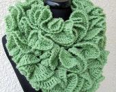 CROCHET SCARF PATTERN, Crochet Ruffle Scarf Pattern, Long Scarf, Diy Crafts Fashion Unique Scarves Instant Download Pdf Pattern No.119