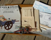 "Wheelbarrow Miniature Kit, Doll Furniture Kit Wood & Cross Stitch Kit ""Gardening"""