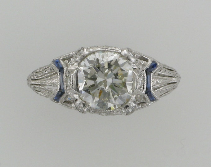 Art Deco Filigree Diamond Engagement/Wedding/Cocktail  Ring with Accent Sapphires in 18 Karat White Gold