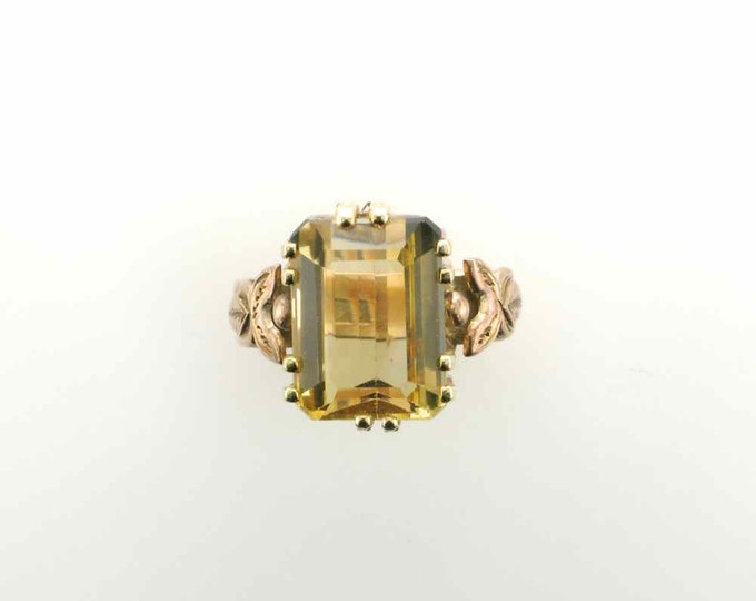 Emerald Cut 8.25 Carat Citrine Ring in 10 Karat Yellow Gold Mounting with Hallmark