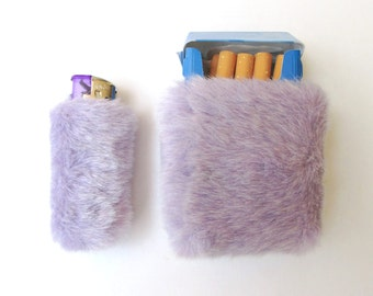 Pastel Goth Purple Cigarette Case Women with Lighter Clueless Girly Lighter Cover Holder Lilac For Her Kawaii Fur Cigarette Pack Bic